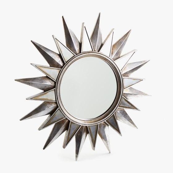 espejo forma sol plateado